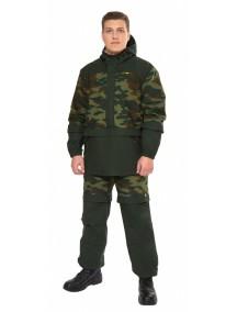 Защитный мужской костюм Биостоп Лайт КМФ 4 зеленый камуфляж/охотничий от клещей и кровососущих насекомых