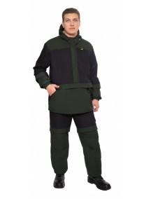 Защитный мужской костюм Биостоп Лайт КМФ 6 черный/охотничий зеленый от клещей и кровососущих насекомых