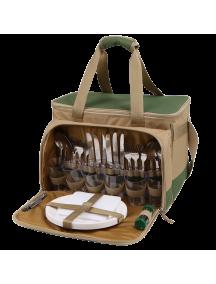 Набор для пикника Арктика 4100-6 зеленый с рисунком, 22 л